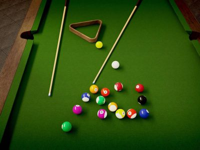 Billiards table, balls, and cue