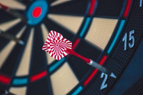 Dartboard with dart out of bounds