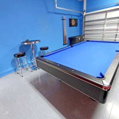 A Games Room with Pool Table in a Garage