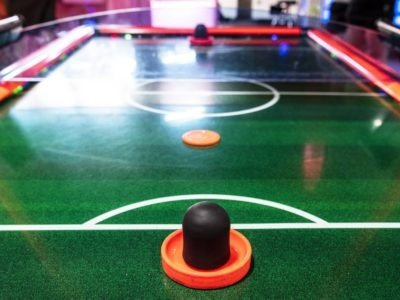 Air hockey table in an arcade