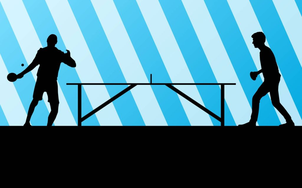 Table tennis player silhouette ping pong vector background for poster