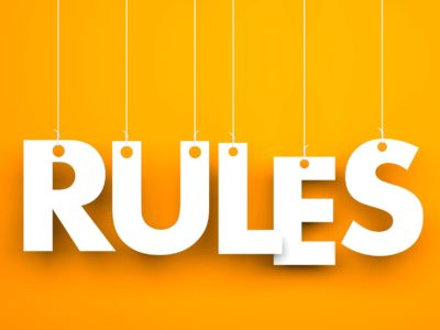 Rules - words hanging on rope. 3d illustration