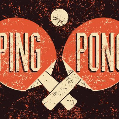 Vintage poster of ping pong paddles and ball