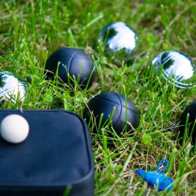 Set of balls for playing bocce on the lawn