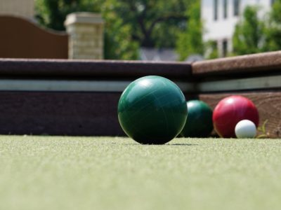 Bocce balls on a bocce court