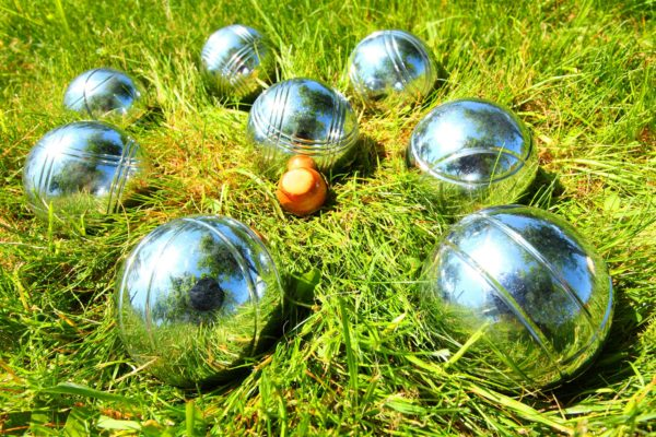 Silver bocce ball set