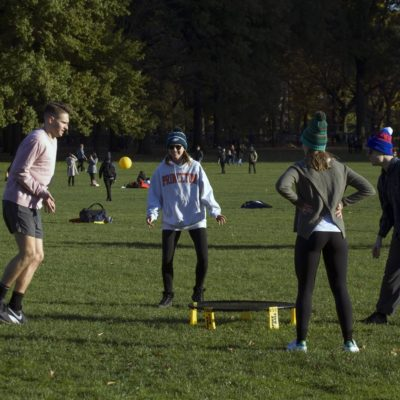 Group of Friends Play Spikeball Central Park NY
