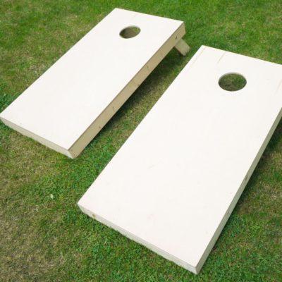 Two cornhole boards side by side