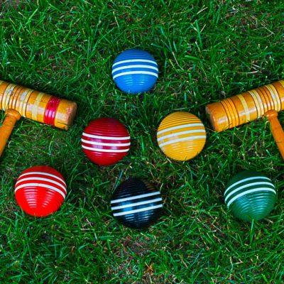 Croquet sticks and balls