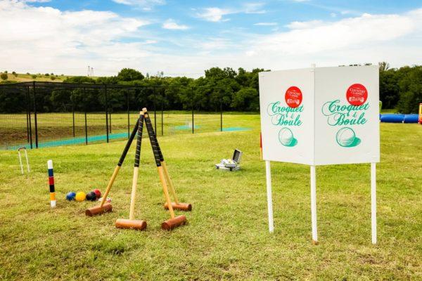 Heavy duty croquet set in park